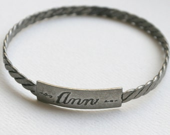 Vintage Solid Sterling Silver ID Bangle Engraved Name ANN Twisted Rope Design Patina