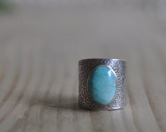 Sterling Turquoise Ring, Oxidised Metalwork Ring, Statement Gemstone Ring - Ditsy Ring in Turquoise