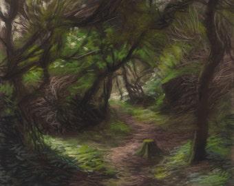 """Original pastel landscape (ref 140327-2) : """"Entrelacs"""""""