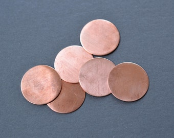 1 inch diameter copper discs- copper stamping blanks- set of 6