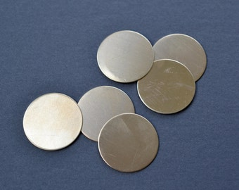 1 inch diameter brass discs- set of 6- brass stamping blank disc