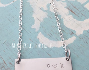 Personalized Hand Stamped Name Bar Necklace Custom Mommy Memorial Love Wedding