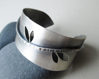 Wide silver cuff bracelet, nature inspired branch with leaves