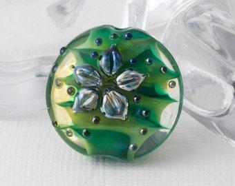 Green Flower Lampwork Bead