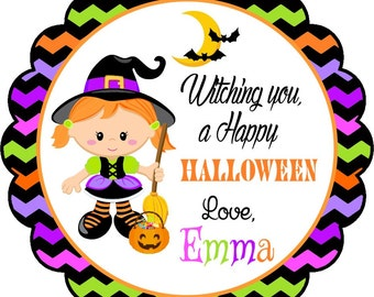 Halloween Stickers, Witch Halloween Stickers, Personalized Halloween Labels, Halloween Party Stickers -  Set of 12