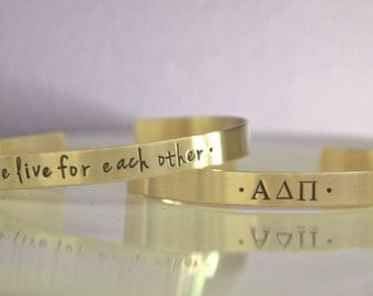 Alpha Delta Pi Bracelet - Sorority Cuff Bracelet, Sorority Bangle Bracelet, Sorority Recruitment, Big Sis Little Sis, ADPi Big Little Gift