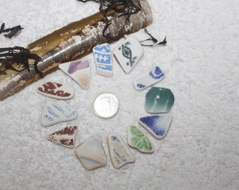 AWESOME BEACHGLASS POTTERY Shards Arts and Craft And Jewelry size pieces zy009