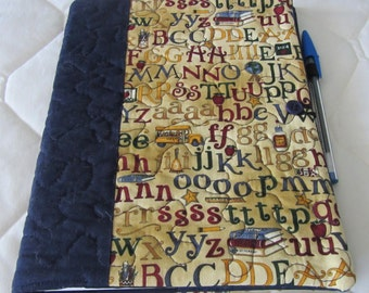 Quilted Journal Cover School Alphabet with Notebook and Pen