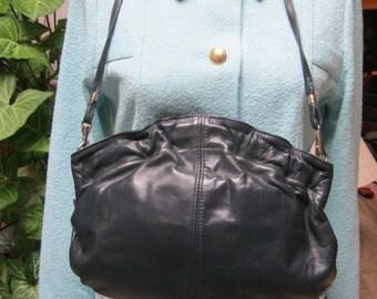 Vintage navy blue smooth leather gathered clutch, navy blue clutch or shoulder bag, hinged frame gathered pouch handbag purse, dark blue bag