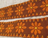 "Vintage Cotton Floral Trim 35"" x 2 1/4"" 1970s SALE"