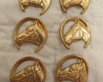 Vintage Horse Cabochons lot of 6 Destash pieces brass