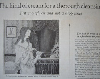 Ponds Cold Cream 1923 Vintage Print