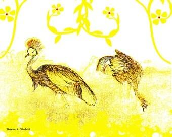 Crowned Crane Art, Bird Art, Yellow Art, Digital Print, Abstract Realism, Wall Hanging, Home Decor, Nursery Decor, Giclee Print 8 x 10