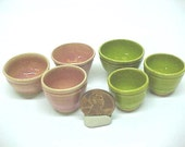Miniature Pottery Mini Bowls | Stacking Set Ceramic Pottery | Pink or Lime Green Wheel Thrown Clay
