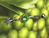 Pot leaf, Cannabis Jewelry,Marijuana Navel Ring, green gems, sterling silver, surgical steel, 14 gauge, internally threaded