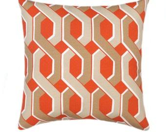 Swavelle Mill Creek Tropix Malcolm Carrot Orange Modern Geometric Helix Outdoor Throw Pillow