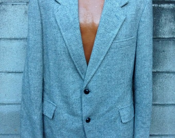 Pendleton Tweed Coat Vintage 1980s Wool Jacket Gray Men's size 42