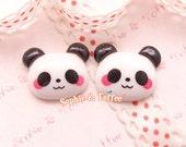 Cute Blushful Panda Resin Cabochon - 8pc | Resin Cabochon Decoden Supplies Jewelry Making Flatback Resin Cabochon
