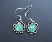 AMBROSIA AFFORDABLES 13 x13 mm Earrings Silver Green