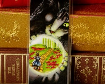 Wicked Witch Cat Bookmark, Wizard of Oz Witch Cat Art Bookmark