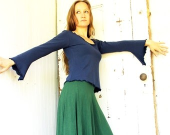 Bell Sleeve Simple Top - Organic Fabric - Made to Order - Eco Fashion