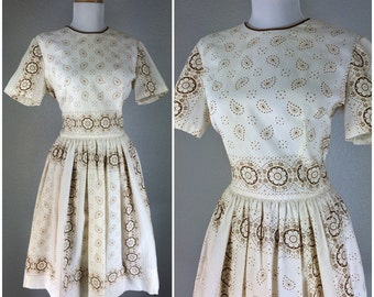 Vintage 1950s Dress White Brown Floral Day Tea Party Dress