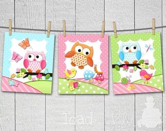 Set of 3 Owls Love Birdies Girls Nature Forest Bedroom Nursery 8 x 10 ART PRINTS