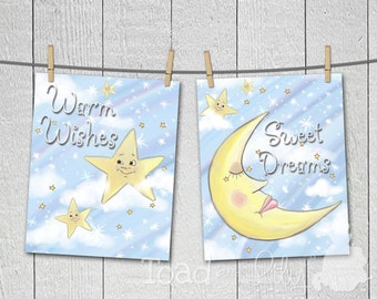 Set of 2 Whimsical Moon and Stars Children's Bedroom Nursery 8 x 10 ART PRINTS