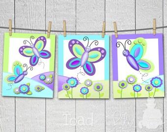Set of 3, 8x10 Pretty Purple Butterfly Girls Bedroom Baby Nursery ART PRINTS