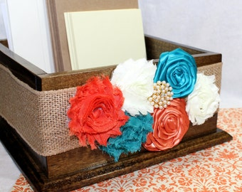 CARD BOX, Wedding Card Box,  Teal, Orange and Ivory,Rustic Burlap Wedding, Walnut Stained Box, Custom colors available