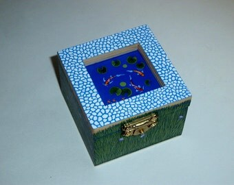 Jewelry boxes-jewelry storage-rings-painted wood-botanical trinket stash box-treasures-keepsakes-collectible-ooak best friend gift-koi pond