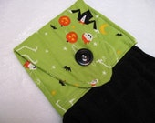 Hanging kitchen towel  button top Halloween lime green with black towel