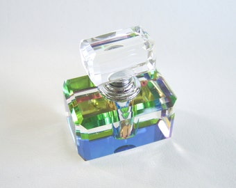 Vintage Vitrail Rainbow Crystal Perfume Bottle Glass Fragrance Bottle