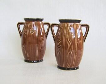 Vintage Vases, Faux Bois, Ceramic Vase, Vase Set, Brown Vase, Faux Wood, Czechoslovakia, Vase Pair, Mid Century, Faux Woodgrain