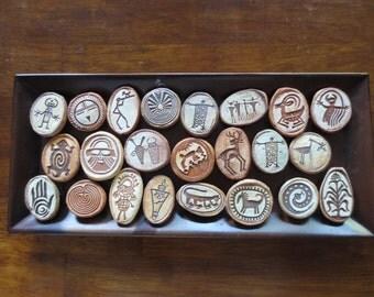 Collection of 23 Rock art Petroglyph Fridge Magnets