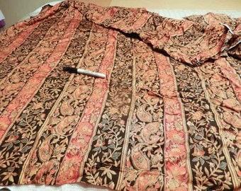 Black red tan rayon challis fabric