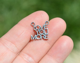 5 Silver Love You More Charms SC3256