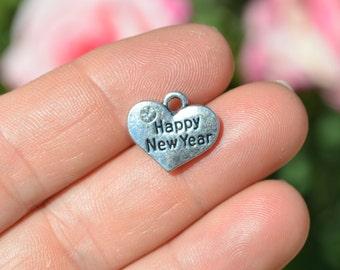 1 Silver Happy New Year Heart Shaped Charm SC3414