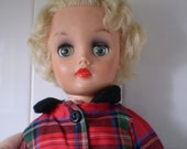 "Vintage RARE 1950's Dee and Cee D&C Canada 17"" Fashion Doll + Vintage Dress fits Revlon HTF"