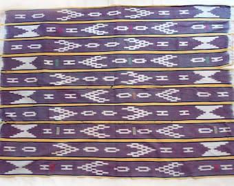 Rare vintage Baule strip woven ikat stripcloth from Cote d'Ivoire, West Africa