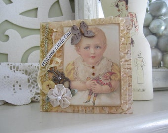 Welcome New Baby Card - Baby Girl Card - Yellow Gold Baby Girl Card