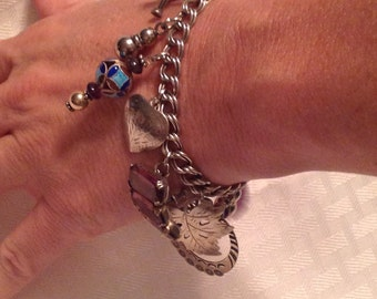 """Sterling Repurposed Charm Bracelet """"Purple Amethyst"""""""