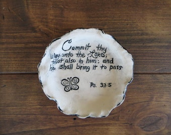 Round Sculpted Dish, plate, ring dish, scripture, bible verse, handmade earthenware pottery, gift under 10, rustic ring dish, one of a kind
