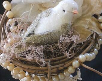 Lovebird cake topper, vintage embellished cake topper, millinary embellished spool