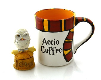 Harry Potter Mug, Accio Coffee with gryffindor scarf, home and living, cups and mugs, ceramics and pottery, 16 oz