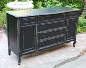 Vintage French Black Sideboard Buffet Dresser