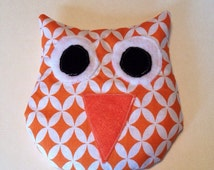 Owl heat pack, stuffed owl bean bag, rice filled owl, microwaveable heat pack, hot or cold rice pack, orange owl
