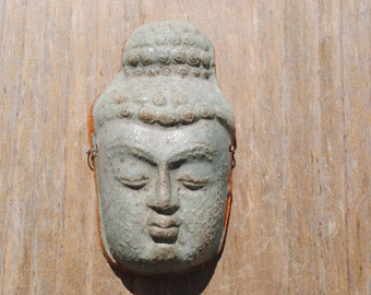 Buddha ceramic mask sculpture art clay face fine art wall decor