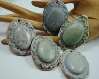 ceramic pendant clay necklace ornament set of five SALE