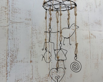 Folk Art Wire Sculpture Mobile
